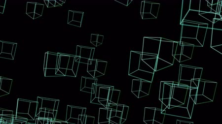orbe : 4k Abstract 3d box mesh cube frame line wireframe space particle design background. Stock Footage