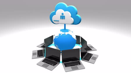 boletim informativo : 4k,Update the informative cloud,rotate earth and laptop,Cloud Computing Concept,upload progress,web tech background.