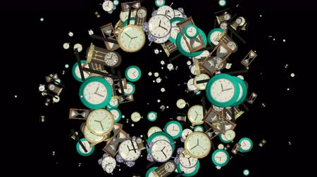 assess : 4k Clock watch array background,time space particle science fiction backdrop. Stock Footage