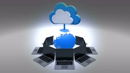 boletim informativo : 4k,Update the informative cloud,rotate earth and laptop,Cloud Computing Concept,web tech background.