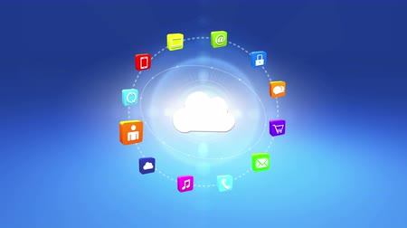 boletim informativo : 4k,Update the informative to cloud,virtual internet concept with rays light,rotating earth,on-line services gadgets icons-discussion,social media,e-mail,e-shop,cloud computing,music,smartphone,chart,lock.