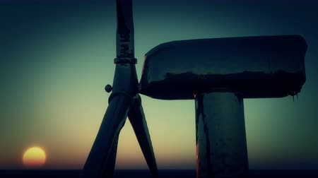 solarium : 4k Windmill Turbines Clean At Sunset,Green Wind Energy,new power energy. Stock Footage