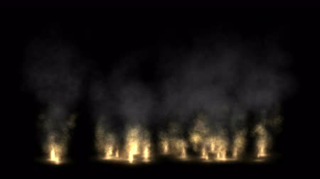evaporate : 4k Fire smoke fume oilfield military war battlefield.