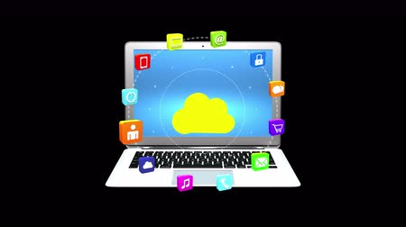 job transfer : 4k,virtual internet concept around cloud computer with laptop background,on-line services gadgets icons-discussion. Stock Footage