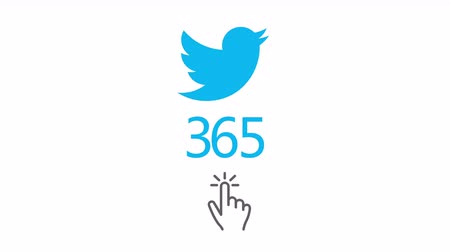 продвигать : December 20,2017:4k twitter concept of increasing followers count,hand icon click on screen gesture.