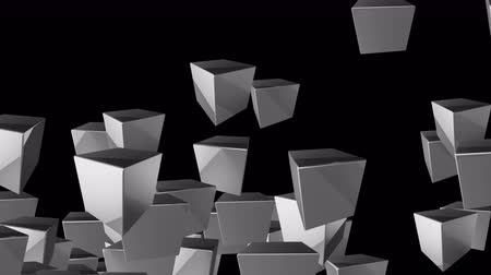 büyük ağ : 4k Abstract 3d box cube space particle design technology art background. Stok Video