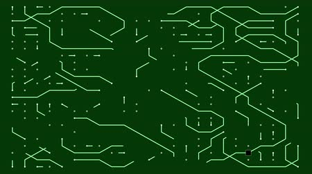 labirent : 4k a futuristic circuit board with moving electrons.