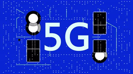 integrator : 4k 5G symbol,a futuristic circuit board with moving electrons. Stock Footage