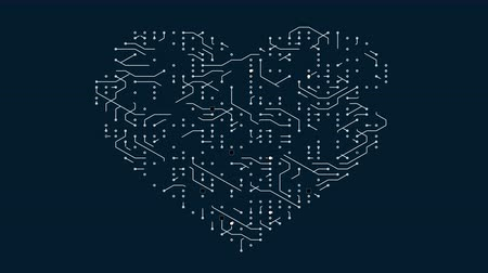 labirent : 4k a futuristic circuit board with moving electrons shaped heart,electronic connections,communication,futuristic technology. Stok Video