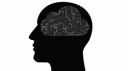 tranzistor : 4k Brain head connect thinking digital lines,expanding artificial intelligence,cpu chip futuristic circuit board with moving electrons shaped cloud computing concept animation.