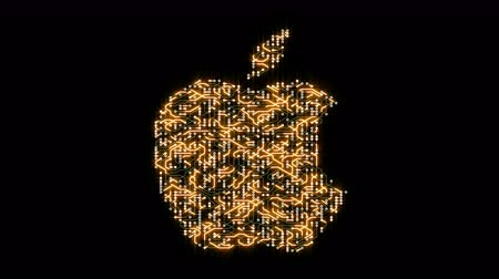 labirent : china-Apr 16,2018:4k a futuristic circuit board with moving electrons shaped apple inc trademark.an Multinational technology company that sells consumer electronics,computer software and online services.