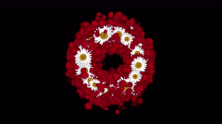darling : 4k Rose petals daisy shaped wreath wedding Valentines Day background.