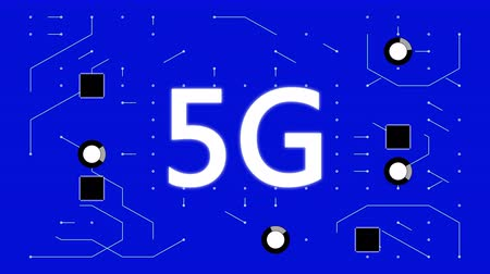 integrovaný : 4k 5G symbol,a futuristic circuit board with moving electrons,electronic connections,communication,futuristic technology.