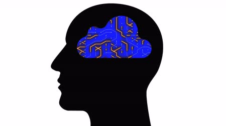 atualizar : 4k Brain head connect thinking digital lines,expanding artificial intelligence,cpu chip futuristic circuit board with moving electrons shaped cloud computing concept animation.
