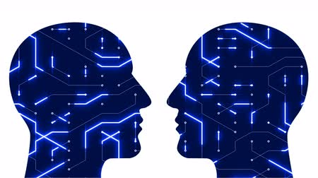 integrator : 4k Brain head connect chip circuit digital lines,expanding thinking AI artificial intelligence creative science symbol art animation,two people face each other.