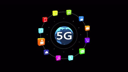 jel : 4k 5G symbol,virtual internet concept with rays light,rotating earth,social media,e-mail,e-shop,cloud computing,music,smartphone,chart,lock. Stock mozgókép