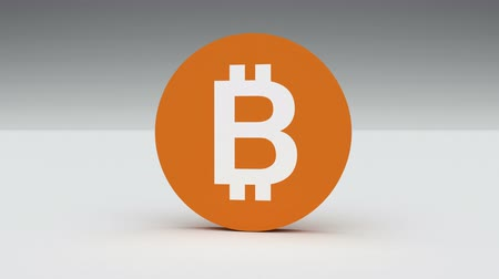 data mining : 4k Bitcoin Crypto Currency Logo 3D rotates btc coin finance business animation.