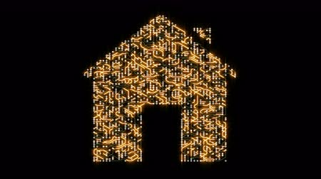 tranzistor : 4k a futuristic circuit board with moving electrons shaped house symbol,smart home,home automation,electronic connections. Dostupné videozáznamy