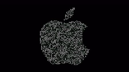 elétron : china-Apr 16,2018:4k a futuristic circuit board with moving electrons shaped apple inc trademark.an Multinational technology company that sells consumer electronics,computer software and online services.
