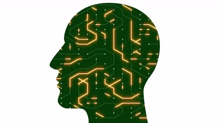 tranzistor : 4k Brain head connect chip circuit digital lines,people expanding thinking AI artificial intelligence creative science symbol art animation.