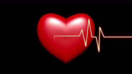 cardiologista : 4k Heart beat cardiogram with red heart background,heart monitor EKG electrocardiogram pulse.