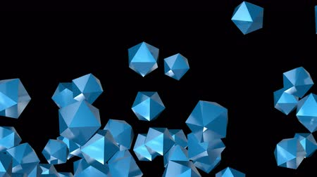 büyük ağ : 4k Abstract 3d polyhedron space diamonds gems ores crystals candy particle design technology art background.