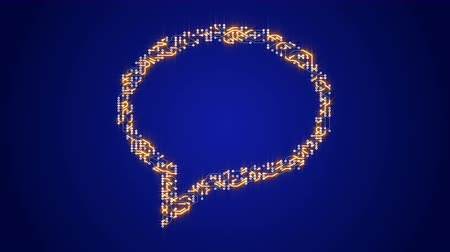 integrator : 4k circuit board electrons shaped talk symbol,electronic connections,Global internet social media sign.