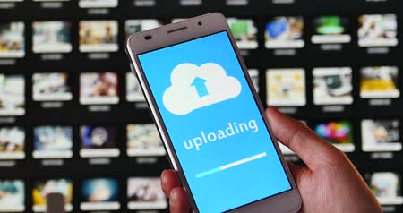 scrapbook : 4k,upload informative and photo from computer cloud server on the smartphone,image storage. Stock Footage