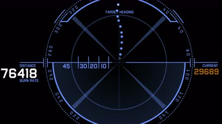 meridian : 4k Radar GPS signal tech screen display,future science sci-fi data computer game navigation dashboard technology interface background. Stock Footage