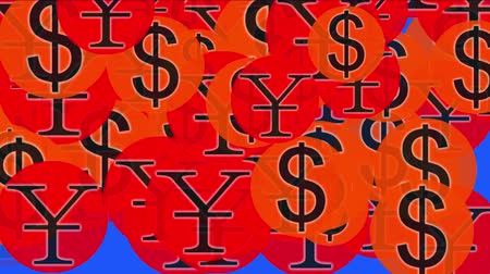 contas : 4k Float USA dollars China RMB money wealth symbol,exchange rate background. Stock Footage
