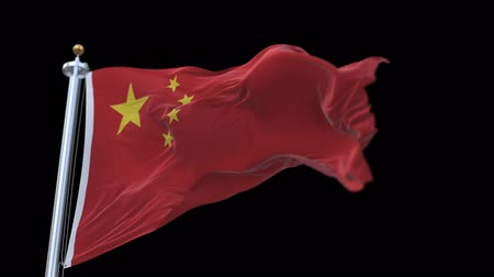 sosyalizm : looping flag of Chinese with flagpole waving in wind. Stok Video