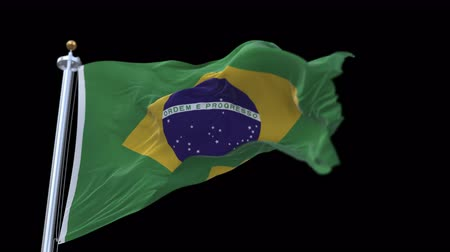 crumpled : looping flag of Brazilian with flagpole waving in wind.