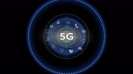 telekomünikasyon : 4k,5G symbol,virtual internet concept with rays light,on-line services gadgets icons-discussion,social media,e-mail,e-shop,cloud computing,music,smartphone,chart,lock.