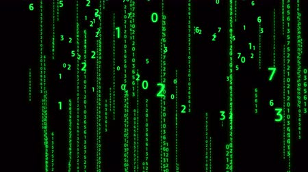 serial : 4k The number,digital matrix display,array of number,tech data background in Green version. Stock Footage