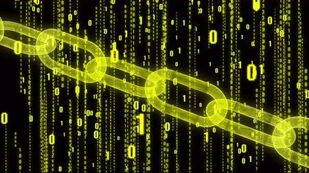 signs of the criminal : The Matrix style binary computer code,changing from zero to one digits,Global internet worldwide.abstract future tech background.yellow version.