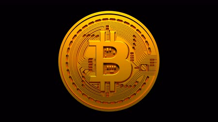 торговый : 4k looping Bitcoin Crypto Currency Logo,3D btc coin finance business,Light changes.