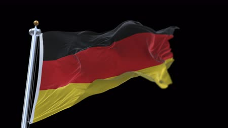birleşik : looping German flag with flagpole waving in wind.A fully digital rendering,The animation loops at 20 seconds.flag 3D animation with alpha channel included. Stok Video