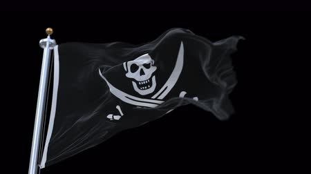territorial : 4k looping pirate flag with flagpole waving in wind.A fully digital rendering,The animation loops at 20 seconds.flag 3D animation with alpha channel included.