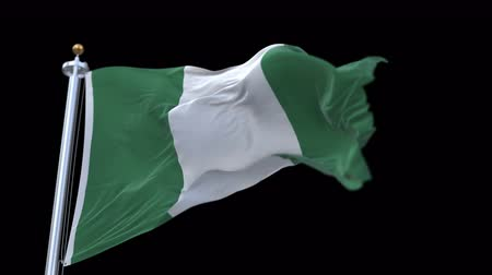 полосатый : 4k looping nigeria flag with flagpole waving in wind.A fully digital rendering,The animation loops at 20 seconds.flag 3D animation with alpha channel included.