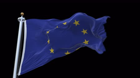 alargamento : 4k looping EU Flag with flagpole waving in wind.A fully digital rendering,The animation loops at 20 seconds.flag 3D animation with alpha channel included. Stock Footage