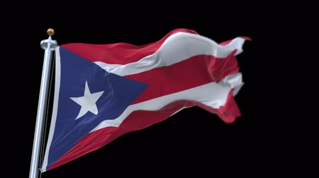 associated : 4k Puerto Rico flag with flagpole waving in wind.