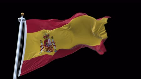 bulls balls : 4k seamless spain flag with flagpole waving in wind.A fully digital rendering,The animation loops at 20 seconds.flag 3D animation with alpha channel included.