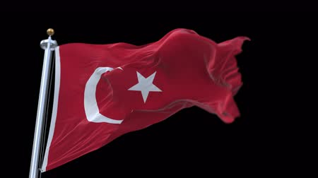 papyrus : 4k seamless Turkey flag with flagpole waving in wind.A fully digital rendering,The animation loops at 20 seconds.flag 3D animation with alpha channel included.