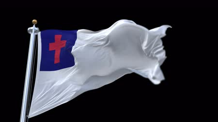 baptism : 4k seamless Christian Flag with flagpole waving in wind.A fully digital rendering,The animation loops at 20 seconds.flag 3D animation with alpha channel included. Stock Footage
