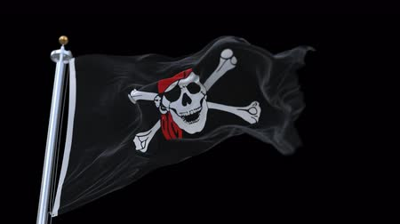 roger : 4k looping pirate flag with flagpole waving in wind.A fully digital rendering,The animation loops at 20 seconds.flag 3D animation with alpha channel included.