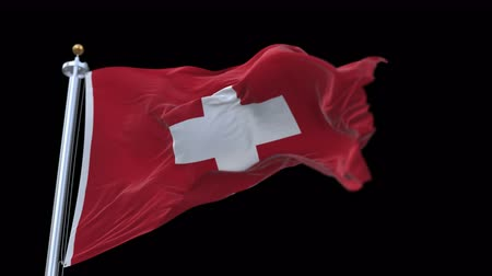 suisse : 4k seamless Swiss Flag with flagpole waving in wind.A fully digital rendering,The animation loops at 20 seconds.flag 3D animation with alpha channel included.
