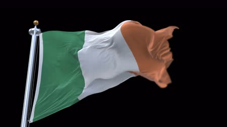 territorial : 4k seamless Ireland Flag with flagpole waving in wind.A fully digital rendering,The animation loops at 20 seconds.flag 3D animation with alpha channel included. Stock Footage