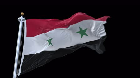 flap : 4k seamless Syria flag with flagpole waving in wind.A fully digital rendering,The animation loops at 20 seconds.flag 3D animation with alpha channel included.