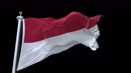 oscilante : 4k seamless Indonesia flag with flagpole waving in wind.A fully digital rendering,The animation loops at 20 seconds.flag 3D animation with alpha channel included.