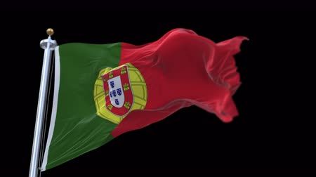 portugese : 4k seamless Portugal flag with flagpole waving in wind.A fully digital rendering,The animation loops at 20 seconds.flag 3D animation with alpha channel included. Stock Footage
